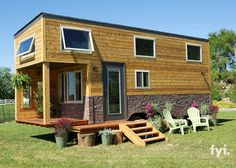 A charming southwest-style tiny house with a porch and bicycle storage,