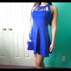 ⚡️HP⚡️Royal Blue Skater Dress The bar neck adds a unique touch to this dress. It could be dressed up or down and feels like scuba material. Stand out in this royal blue dress at any event or night out with the  girls. :) Please feel free to make an offer via offer button only.  •No Trades•  Interested in free shipping? Visit my Instagram for more info: @jacklagposh Boutique Dresses