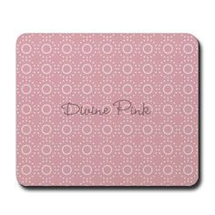Custom Divine Retro Style Pink White Mousepad editable text, personalized pink princess mouse pad.