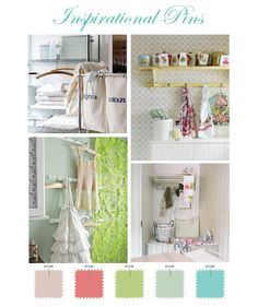 Laundry room color palate with Tiffany blue as dominant color with mostly coral with greens and lighter blue accents