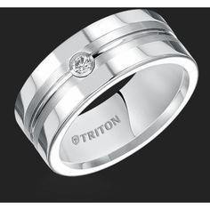 Triton White Tungsten Carbide Diamond Men's Band