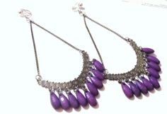 5 1/2 Chained Half Moon Purple Beaded Dangle Clipon by ADKOR, $7.99