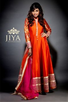 raw silk anarkali, winter engagement outfit, orange anarkali, banarsi sleeves, orange and pink outfit, sister of the bride, mehendi floor length anarkali