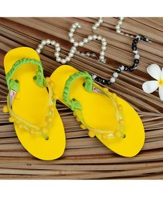 0e8ed275e Buy D chica Yellow Rubber Flip Flop With Pom Pom online