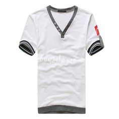 $12.99 Exquisite Cheap Men's Short Sleeve V Neck Cotton Tee Shirts