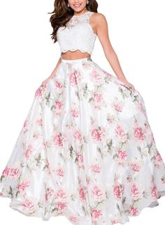 Amazon.com: Yangprom Two Piece Floral Print Prom Dress Long Sleeveless Beaded Evening Gown: Clothing
