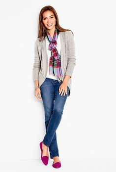 I love everything about this outfit, especially the colors. I'd like the long neutral sweater, a scarf with a pop of color, and bright colored flats. Casual Work Outfits, Mom Outfits, Stylish Outfits, Fall Outfits, Cute Outfits, Fashion Outfits, Womens Fashion, Geek Fashion, Fashion Scarves