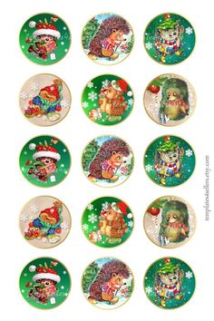Digital Collage Sheet Christmas New Year Hedgehog 1 inch round images Scrapbooking Pendants Printable Original inch sheet 225 Christmas Gift Tags, Retro Christmas, Christmas Pictures, Xmas Cards, Bottle Cap Images, Bottle Caps, Collage Sheet, Collage Collage, Diy Bottle Cap Crafts