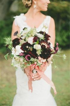 Rich and rosey dark wedding bouquet