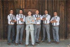 Groomsmen in Grey slacks with suspenders