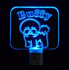 """Personalized #Dog Night Light with Name by Unique Led Products ♦3D #Engraved 3/8"""" Clear #Acrylic ♦day/night light sensor ♦ multi-colored led lights"""