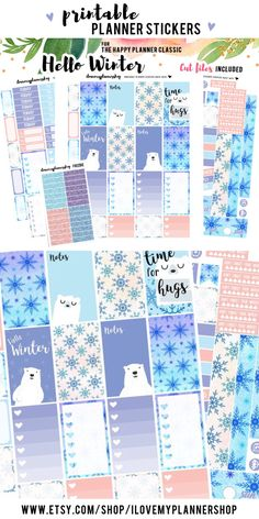 Happy Planner stickers for winter. January printable planner stickers. Bear planner stickers. Winter weekly kit for Mambi Planner. Includes free Silhouett cutfiles and glitter headers.