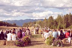 Wedding Ceremony love this with the haybells