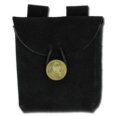 Medieval Renaissance Leather Black Suede Pouch by General Edge. $7.75. The pouch is made from black leather suede and is just large enough to fit small items of food, cell phones, keys, wallets, etc. It features an intricately designed brass button and leather loop for closure. A double-riveted belt loop is attached to the backing making for easy to don this bag with a variety of attire. This is a finely crafted, rugged, and historically accurate addition to any everyday ...