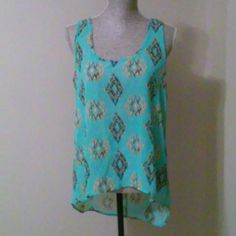 Sheer blue top New, never worn. Fun patterned. Hi-low affect. 100% polyester. Annabelle Tops