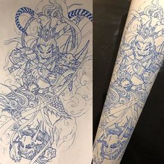 Monkey King and Foodog Sleeve Sketch With artist: @danny_chronicink Created @chronicink _ #workproud #wearproud #pursan by @solabspurklenz #needles from @mithramfg