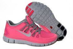 Nike Free 5.0+ Womens Coral Light Gray Running Shoes