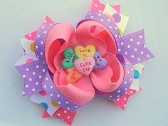 Valentine Hair Bow - Conversation Hearts Boutique Hair Bow