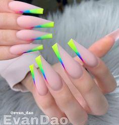 Neon Acrylic Nails, Neon Nails, Bling Nails, Acrylic Nail Designs, Swag Nails, Fancy Nails Designs, Pastel Nails, Pointy Nails, Coffin Nails Long