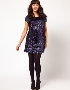 Enlarge ASOS CURVE Exclusive Sequin And Mesh Shift Dress  Love sequin shift dresses, and happy to see them back in style.