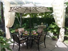 Patio with outdoor draperies