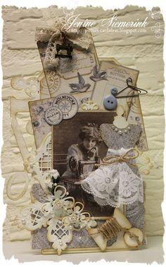 Een tag gemaakt met het prachtige papier van Pion Design - Alma's Sewing Room.