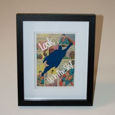 """Framed Superman """"Look, Up In The Sky!"""" Comic Silhouette. $28 on Etsy"""