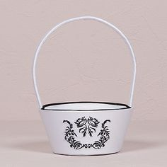Love Bird Damask in Classic Black and White Flower Girl BasketOn sale now! for $22.98 CAD each | Buy it now on www.montrealweddings.com || #mariagemontreal #montrealweddings #gift #wedding #favor #flowergirl #basket #flowers