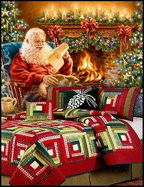Santa murals - christmas bedding- christmas decorating