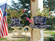 Combine an elaborate sconce with a cup and saucer to create a charming hanging planter, perfect for small bunches of colorful plants. Get the tutorial.