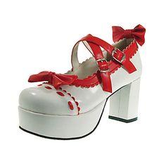 Handmade Red and White PU Leather 8cm High Heel Sweet Lolita Shoes
