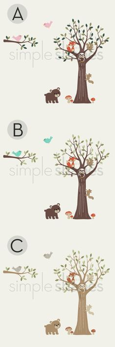 Tree with Forest Friends Decal Set Kid's Nursery by SimpleShapes