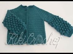 Crochet Cardigan with Bobble Sleeves (pt This is the first out of two video tutorials for our cardigan with the bobble stitch sleeves! In this video were going to see the beginning, how to close for the sleeves and how to finish the body of the Bobble Stitch Crochet, Crochet Coat, Crochet Cardigan, Cardigan Pattern, Crochet Clothes, Crochet Stitches, Baby Girl Crochet, Crochet Videos, T Shirt Yarn