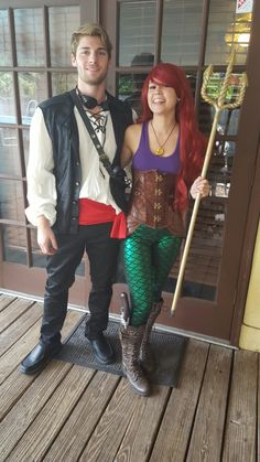 Ariel and Prince Eric steampunk Halloween costumes. Couples costumes.