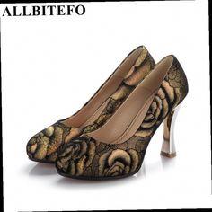 43.94$  Watch now - http://alibk3.worldwells.pw/go.php?t=32589086432 - ALLBITEFO round toe Appliques Strange Style design sheepskin women pumps platform sexy high heel shoes ladies shoes woman