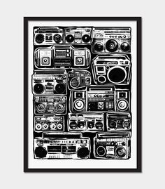 Boomboxes Art Print - Ghetto Blaster - Blackline - Hip Hop Hipster Pop Art - Hand Printed. $100.00, via Etsy.