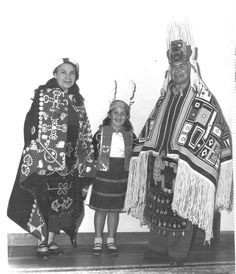 "Andy Everson writes:  My granny, my mom and my grandpa wearing their regalia. My granny is wearing her Tła'sala blanket and beaded apron, my mom is wearing an old Tlingit blanket made by Mary Ebbets and my grandpa is wearing a woven ""chilkat"" blanket by Abaya Martin. His apron is our twin bear beaded apron that also appeared throughout Boas' 1930 film."