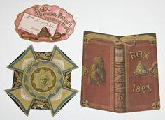 Mardi Gras Ball Invitation, Envelope and Lady's Admit Card, 1883, Krewe of Rex. (3 Pcs.)