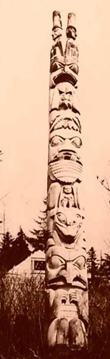 Haida totem pole, Howkan village, Long Island, Alaska  For more information about totem poles, visit: http://www.totem-pole.net/