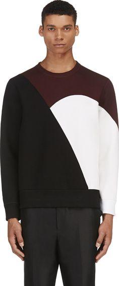 Neil Barrett - Burgundy Colorblocked Neoprene Sweater | SSENSE $445