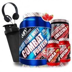 030999ba8 Kit Suplementos Ultra Nutri Whey Combat Protein + Creatina + Bcaa + Cafeina  + Coqueteleira e