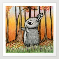 Forest Bunny Art Print by Art by Elle - $22.88