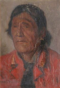 Red Crow by A.Nora Foote 1895. [Red Crow in his senior years, a very different image from the Kainai chief who signed Treaty No. 7 in 1877. JE]
