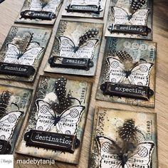 Handmade Tags, Handmade Greetings, Greeting Cards Handmade, Bullet Journal Books, Junk Journal, Art Trading Cards, Project Life Cards, Atc Cards, Pocket Letters