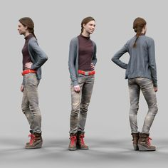 2978ce537315 smiling girl casual clothing 3d obj Texture Mapping