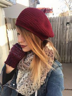 Ravelry: Sweetheart Classic Beret pattern by Regina Weiss Diy Crochet Scarf, Crochet Beret Pattern, Crochet Eyes, Crochet Beanie, Free Crochet, Knitted Hats, Knit Crochet, Double Crochet, Single Crochet