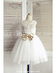 A-line Knee-length Flower Girl Dress - Lace / Tulle Sleeveless Scoop with 2017 - $53.99