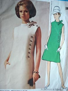 Vogue Americana ca. Chuck Howard - Misses' One-Piece Dress. Loose-fitting, slightly. 60s And 70s Fashion, 60 Fashion, Retro Fashion, Fashion Dresses, Vintage Fashion, Vintage Vogue, Moda Vintage, Vintage Outfits, Classy Outfits