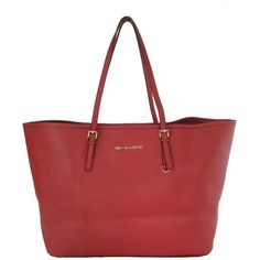 Pre-owned Michael By Michael Kors Saffiano Medium Travel Red Tote Bag featuring polyvore, fashion, bags, handbags, tote bags, red, leather travel tote, beach tote, red leather tote bag, leather purse and travel tote bags