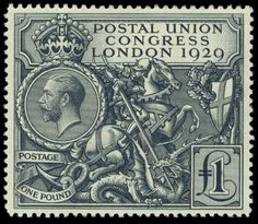 St. George slaying the dragon on a 1929 British stamp with beautiful line engraving